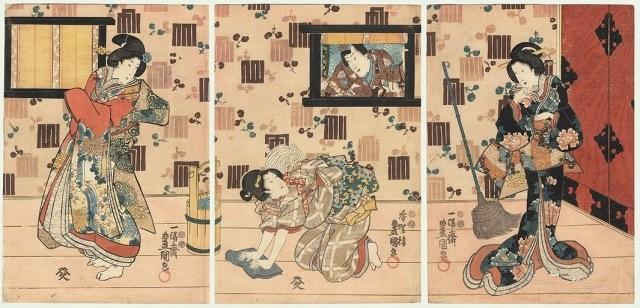 уборка японская гравюра